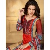 Designer Party Wear Red & Beige Embroidered Cotton Unstitched Churidar Suit - 2104 A ( OFB-600 )