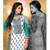 Designer Party Wear White & Turquoise Embroidered Cotton Unstitched Churidar Suit - 2103 B ( OFB-600 )