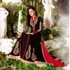 Designer Fancy Embroidered Polyster Georgette Black Anarkali Suit - 6706 ( OFB-637 )