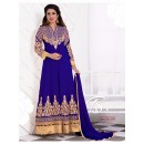 Designer Georgette Embroidered Party Wear Blue Anarkali Suit - WA0064 ( OFB-644 )