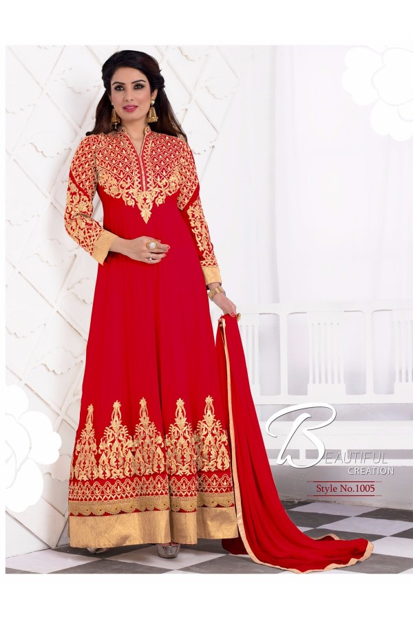 Designer Georgette Embroidered Party Wear Red Anarkali Suit - WA0063 ( OFB-644 )