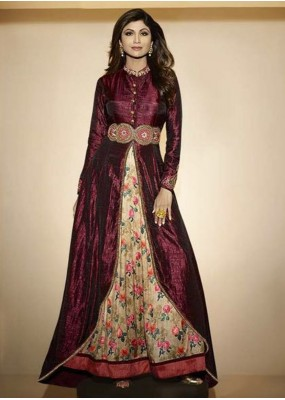 Designer Raw Silk Embroidered Party Wear Wine Anarkali Suit - 6300 ( OFB-646 )