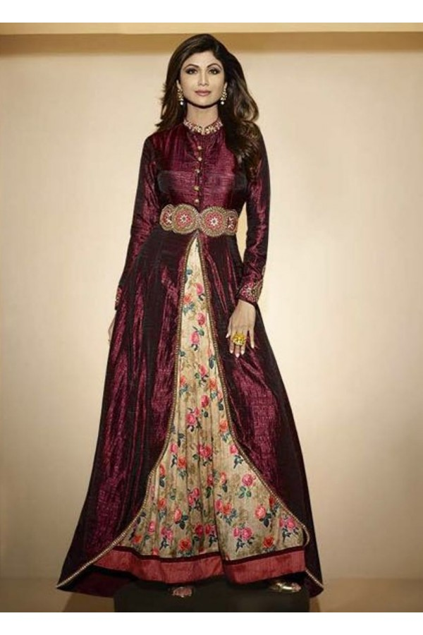 Raw Silk Embroidered Party Wear Wine Anarkali Suit - 6300 ( OFB-646 )