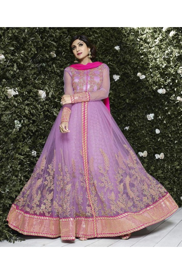 Designer Soft Net Embroidered Party Wear Purple Anarkali Suit - 6301 ( OFB-646 )