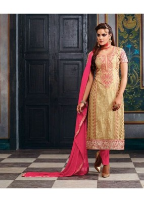 Georgette Embroidered Beige Salwar Kameez - 2002 ( OFB-653 )