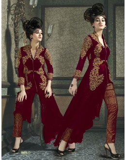 Georgette Embroidered Red Salwar Suit - 9005D ( 655 )