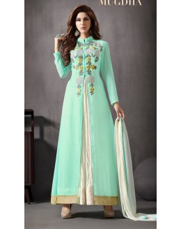 Beautiful Embroidered Georgette Turquoise Anarkali Suit -  10019 ( 663 )