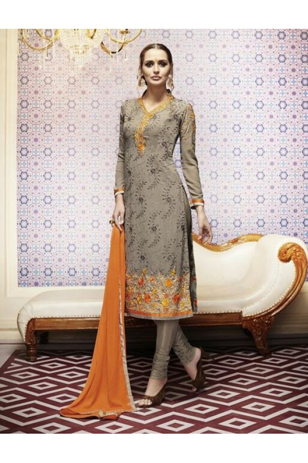 Amba Georgette Embroidered Coffee Salwar Kameez - 7207 ( 664 )