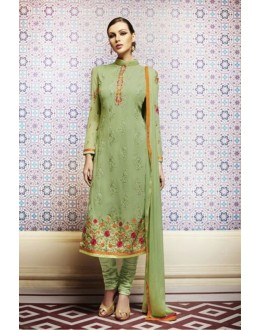 Amba Georgette Embroidered Green Salwar Kameez - 7206 ( 664 )