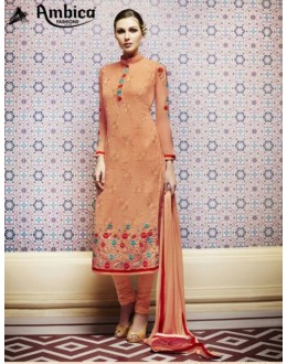 Amba Georgette Embroidered Light Orange Salwar Kameez - 7209 ( 664 )