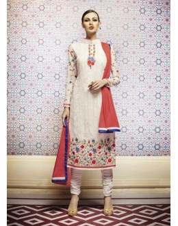 Amba Georgette Embroidered Off White Salwar Kameez - 7208 ( 664 )