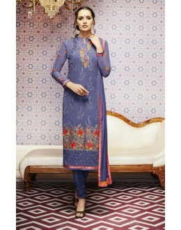 Amba Georgette Embroidered Purple Salwar Kameez - 7210 ( 664 )