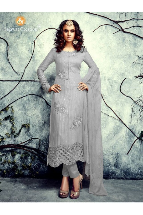 Ethnic Wear Georgette Grey Salwar Kameez - 4003-A