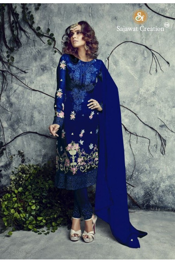 Party Wear Georgette Blue Salwar Kameez - 4002-A
