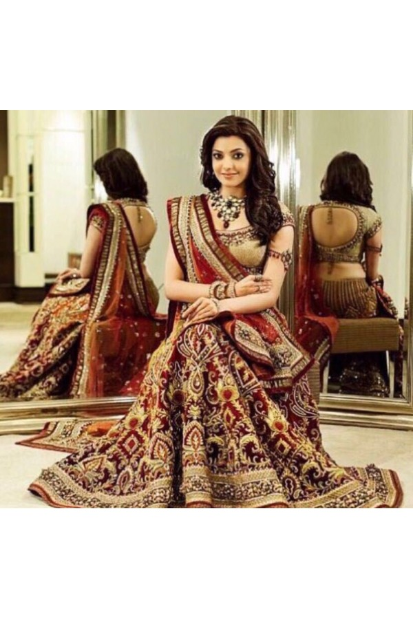 Bollywood Replica - Kajal Aggarwal In Maroon Lehenga Choli - Dj-47 A