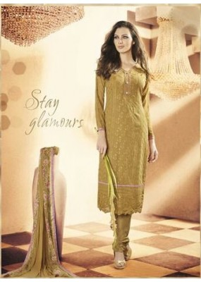 Party Wear Georgette Mehendi Churidar Salwar Kameez - 7309