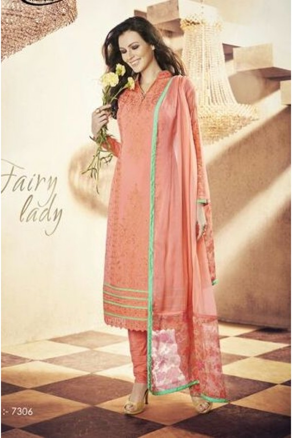 Party Wear Georgette Peach Churidar Salwar Kameez - 7306