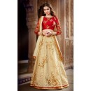 Wedding Wear Banglori Silk Cream Lehenga Choli - L-5
