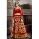 Wedding Wear Banglori Silk Red Lehenga Choli - L-3