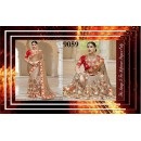 Bollywood Replica - Designer Beige Net Embroidered Saree - 9059