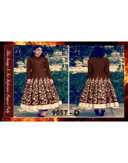 Bollywood Replica - Designer Brown Banglori Silk Anarkali Suit - 9057-D