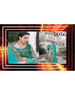 Bollywood Replica - Designer Teal Blue & Beige Saree - 9056