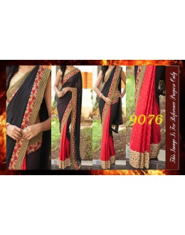 Bollywood Replica - Designer Black & Red Party Wear Saree - 9076
