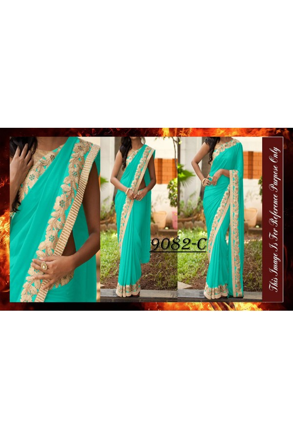 Bollywood Replica - Designer Blue Party Wear Saree - 9082-C