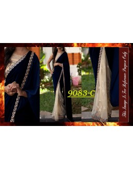 Bollywood Replica - Designer Navy Blue & Beige Saree - 9083-C
