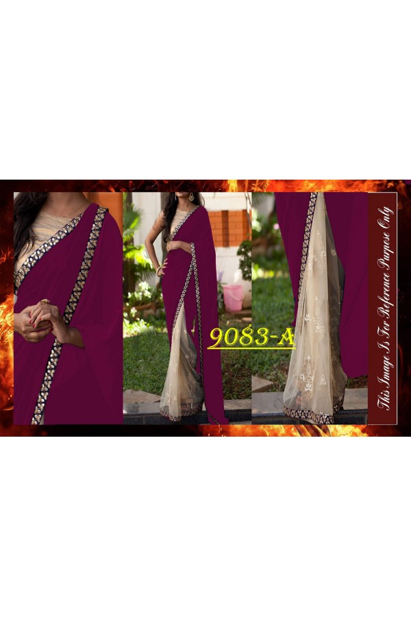 Bollywood Replica - Designer Purple & Beige Saree - 9083-A