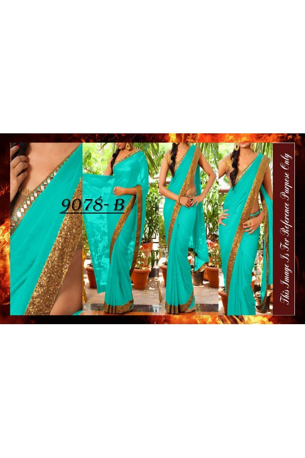 Bollywood Replica - Party Wear Blue Sequence Work Saree - 9078-B
