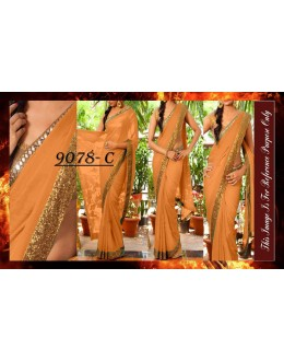 Bollywood Replica - Party Wear Orange Sequence Work Saree - 9078-C