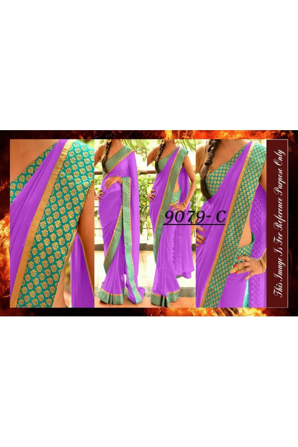 Bollywood Replica - Party Wear Purple Border Work Saree - 9079-C