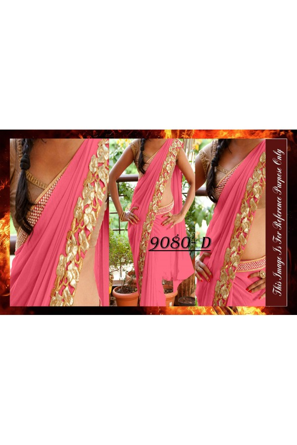 Bollywood Replica - Party Wear Dark Pink Saree - 9080-D