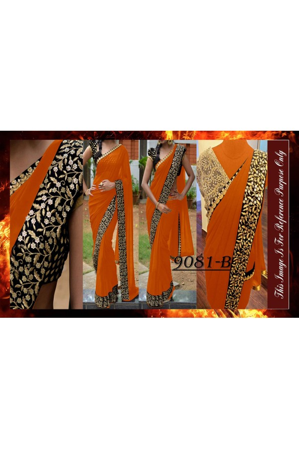 Bollywood Replica - Party Wear Zari Work Orange Saree - 9081-B