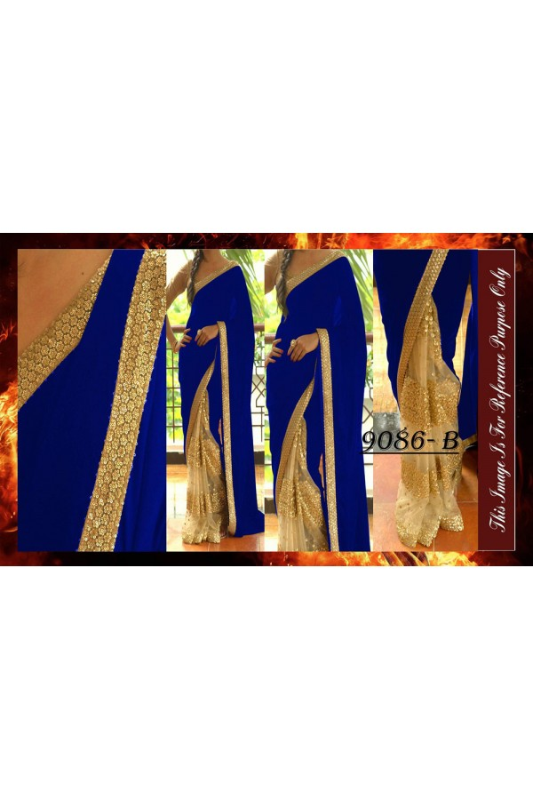 Bollywood Replica - Wedding Wear Beige & Blue Saree - 9086-B
