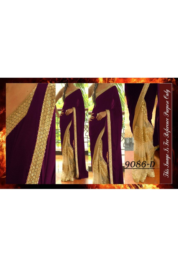 Bollywood Replica - Wedding Wear Beige & Purple Saree - 9086-D