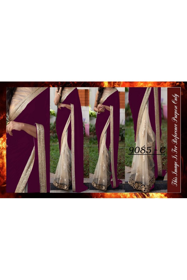 Bollywood Replica - Wedding Wear Purple & Beige Saree - 9085-C