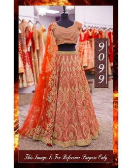 Bollywood Replica - Bridal Orange Heavy Worked Lehnega Choli - 9099