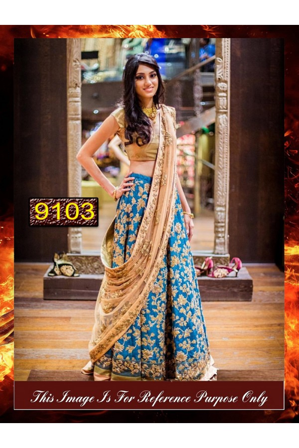 Bollywood Replica - Bridal Rama Blue Silk Lehnega Choli - 9103
