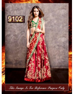 Bollywood Replica - Bridal Red Silk Lehnega Choli - 9102