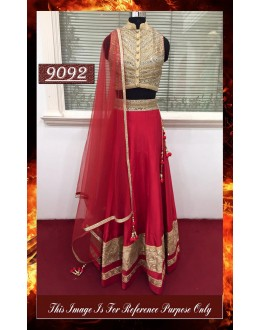 Bollywood Replica - Designer Red Banglori Silk Lehenga Choli - 9092