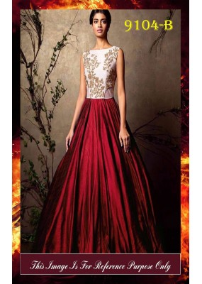 Bollywood Replica - Party Wear Maroon& White Gown  - 9104-B