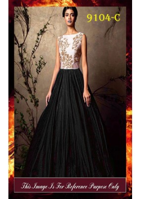 Bollywood Replica - Party Wear Black & White Gown  - 9104-C
