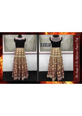 Bollywood Replica - Wedding Wear Cream & Black Gown  - 9100-D