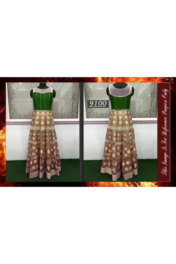 Bollywood Replica - Wedding Wear Cream & Green Gown  - 9100-A