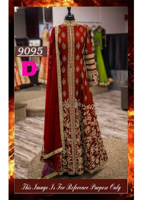 Bollywood Replica - Wedding Wear Red Slit Anarkali Suit - 9095-D