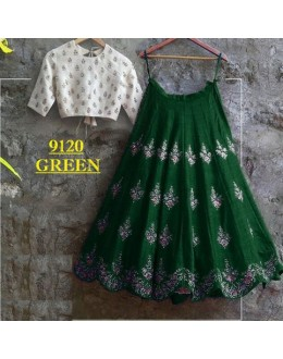 Bollywood Replica -  Party Wear Green & White Crop Top Lehenga - 9120-B