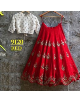 Bollywood Replica -  Party Wear Red & White Crop Top Lehenga - 9120-F