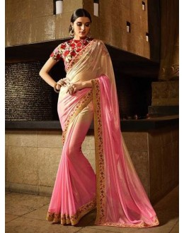 Beautiful Shimmer Georgette Cream & Pink Saree - 360